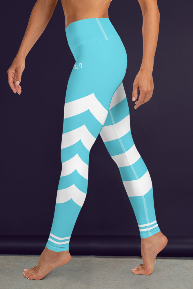 Cyan Blue Technical Leggings with Stripes