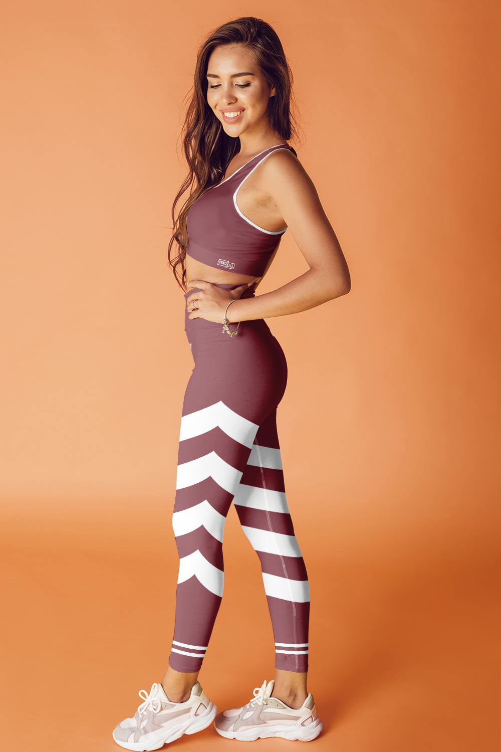 Rouge Bordeaux Technical Leggings with Stripes