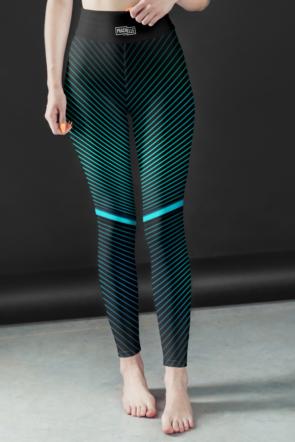 Blue Lines | Black Leggings