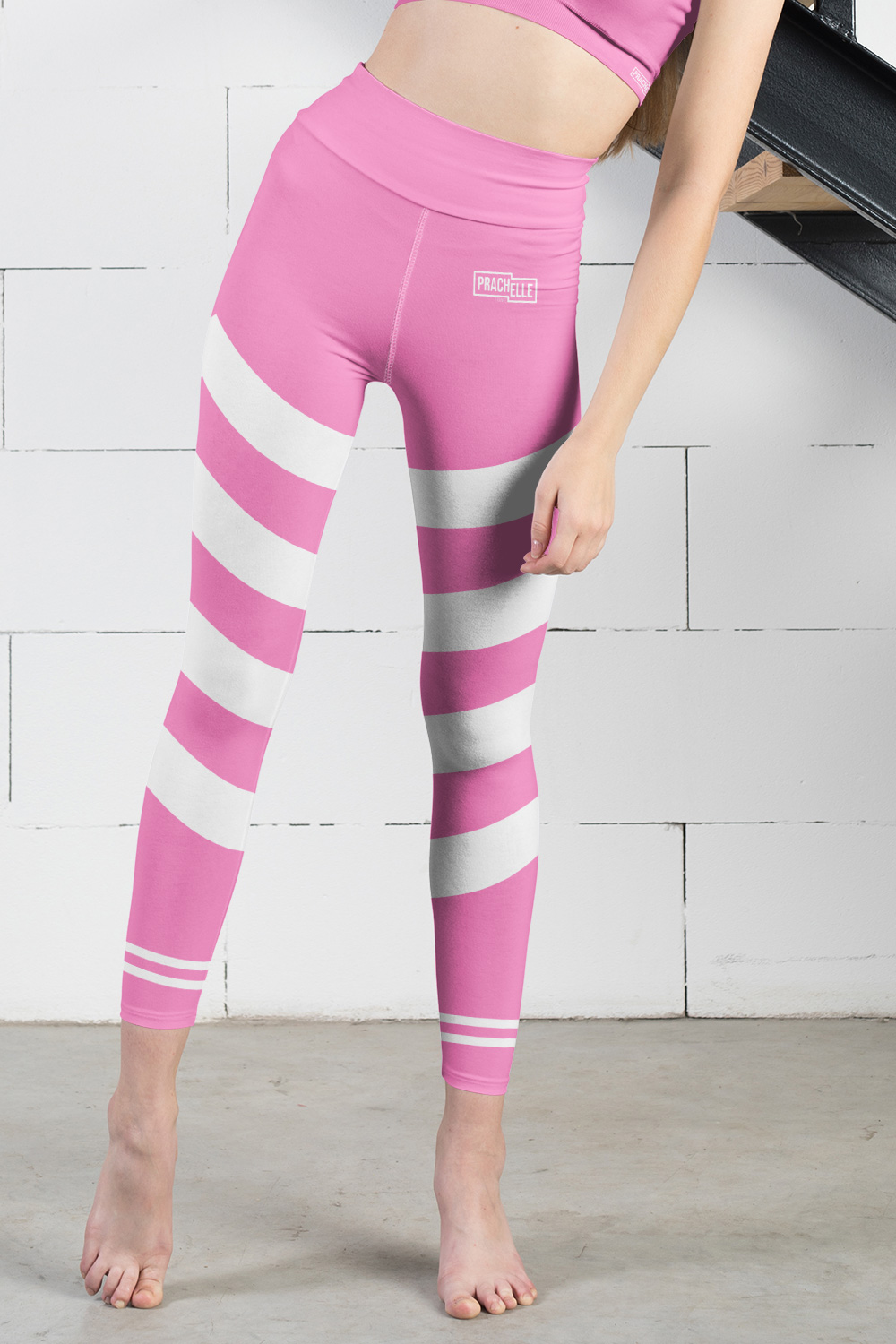 Pink Technical Leggings with Stripes