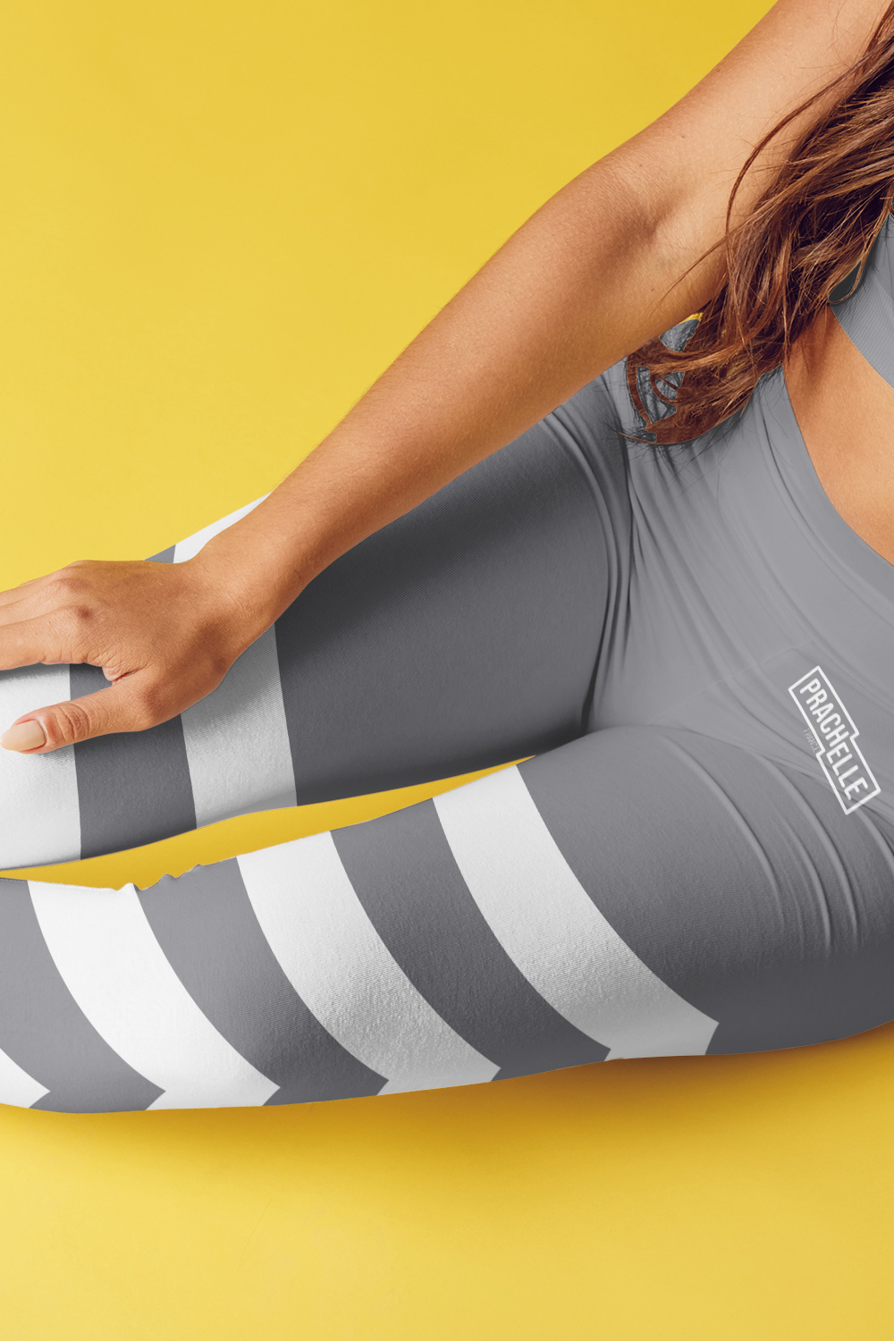 Grey Technical Leggings with Stripes