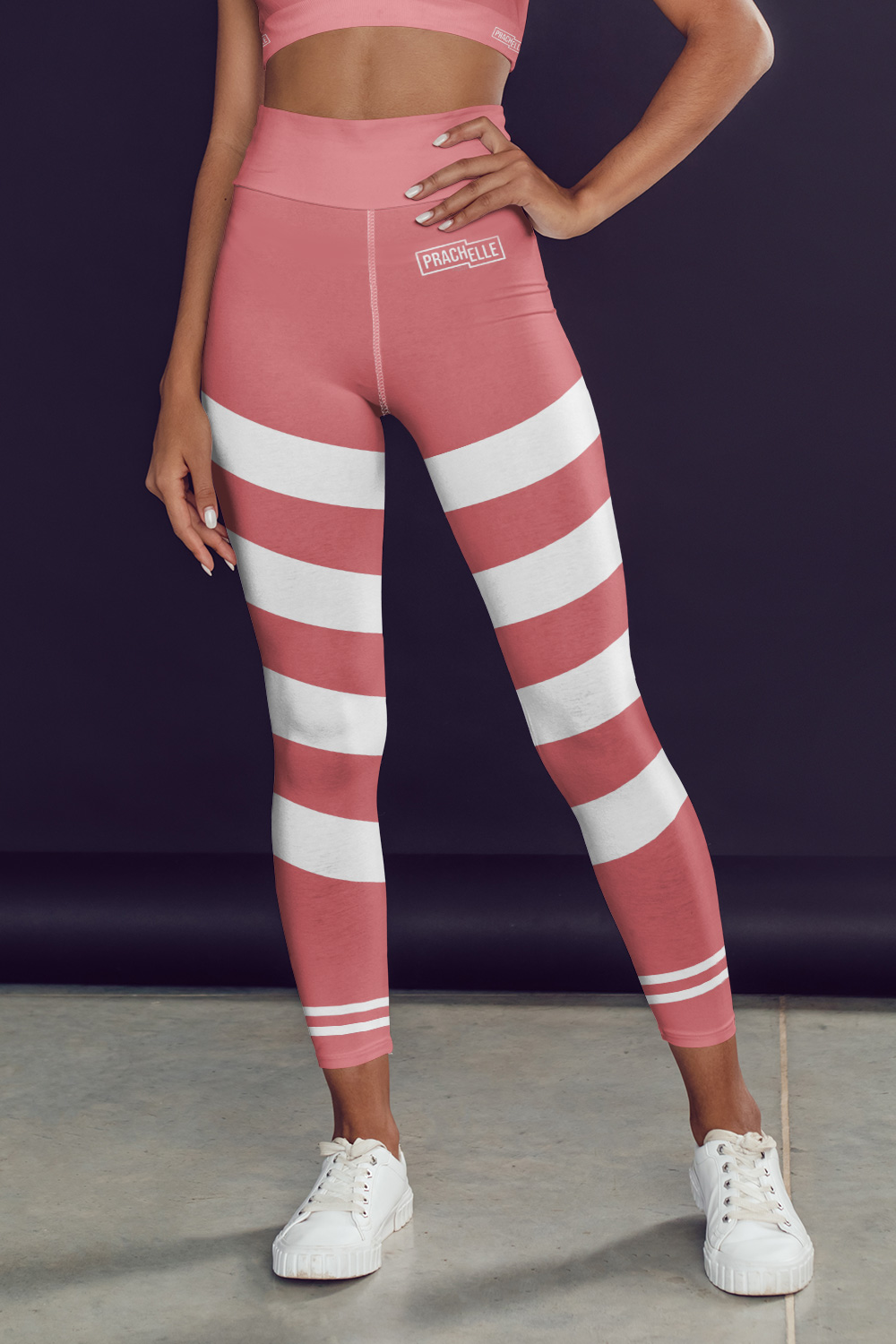 Incarnadine Pink Technical Leggings with Stripes