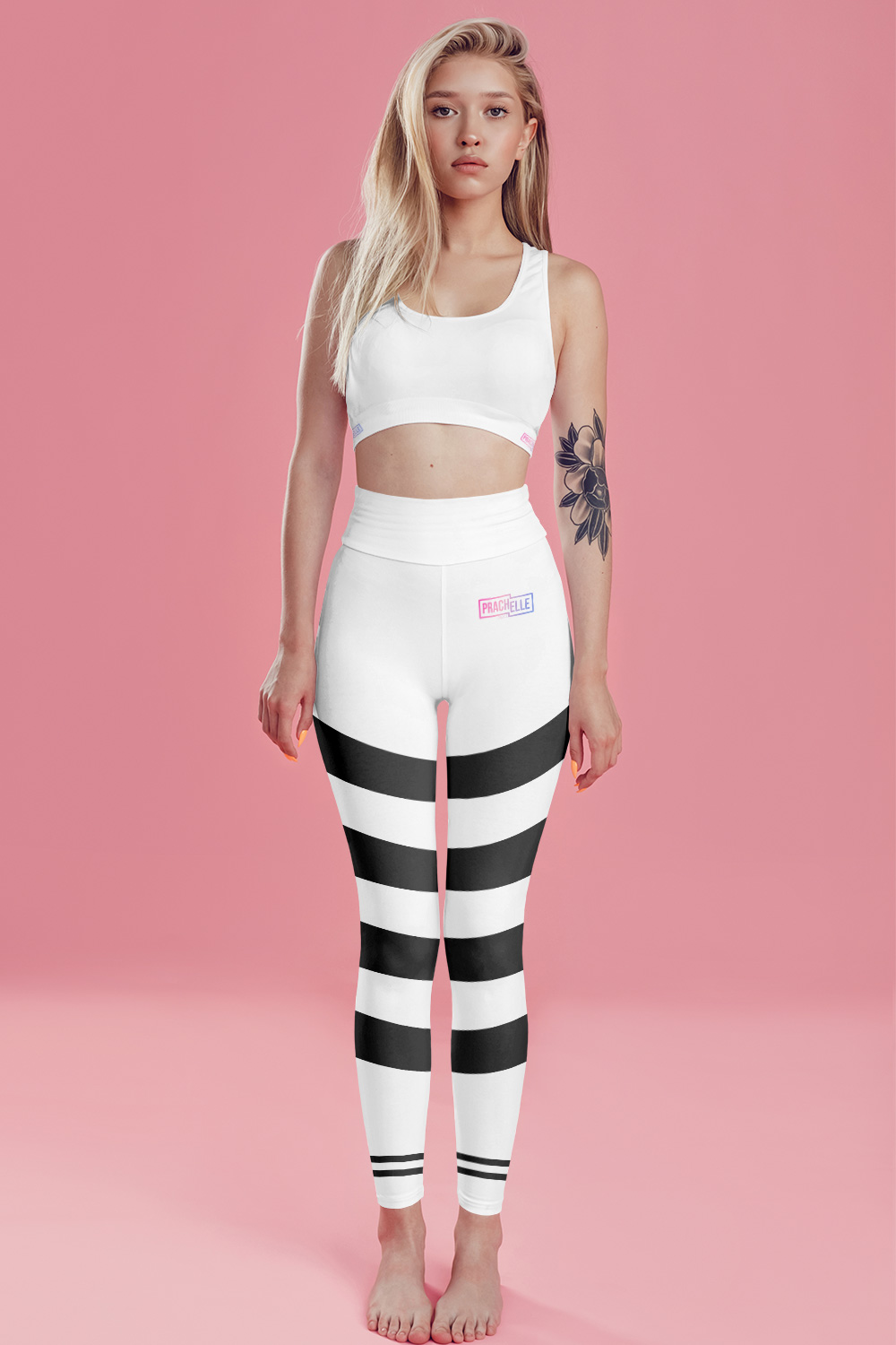 White Technical Leggings with Black Stripes