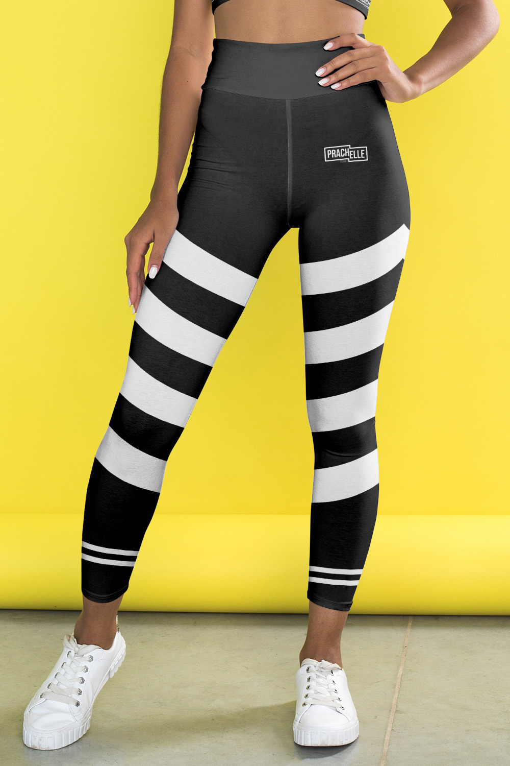 Black Technical Leggings with White Stripes