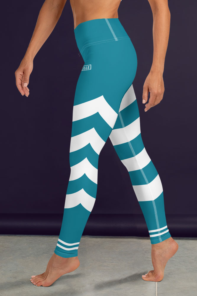 Caeruleum Blue Technical Leggings with Stripes