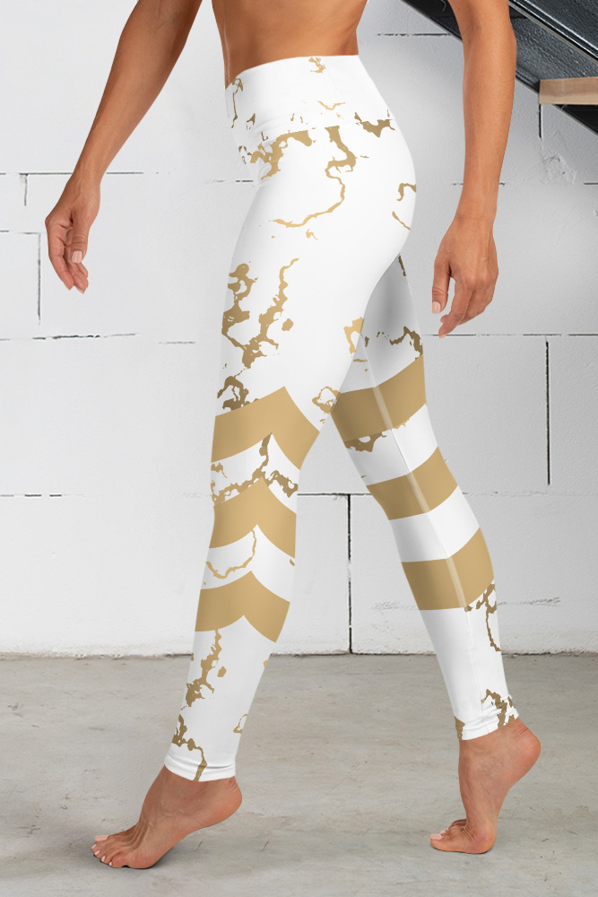 Versailles   Golden Marble Leggings with Stripes