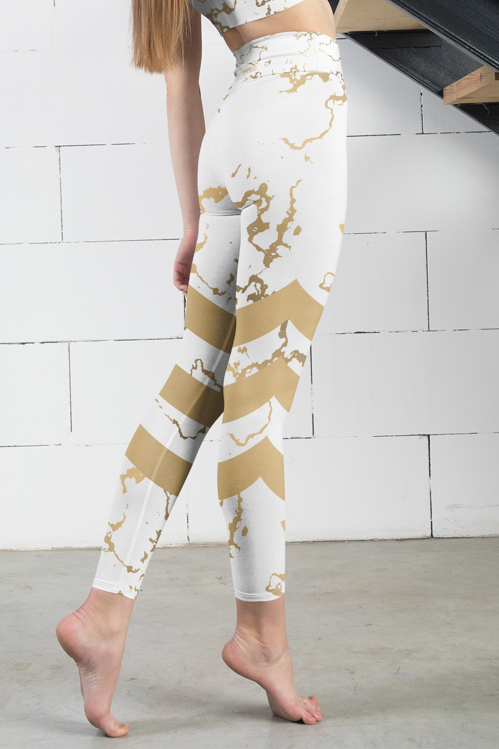 Versailles | Golden Marble Leggings with Stripes