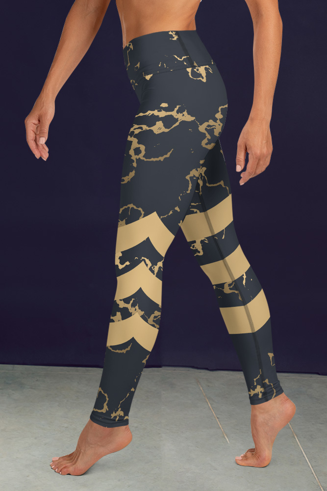 Portor | Dark Golden Marble Leggings with Stripes