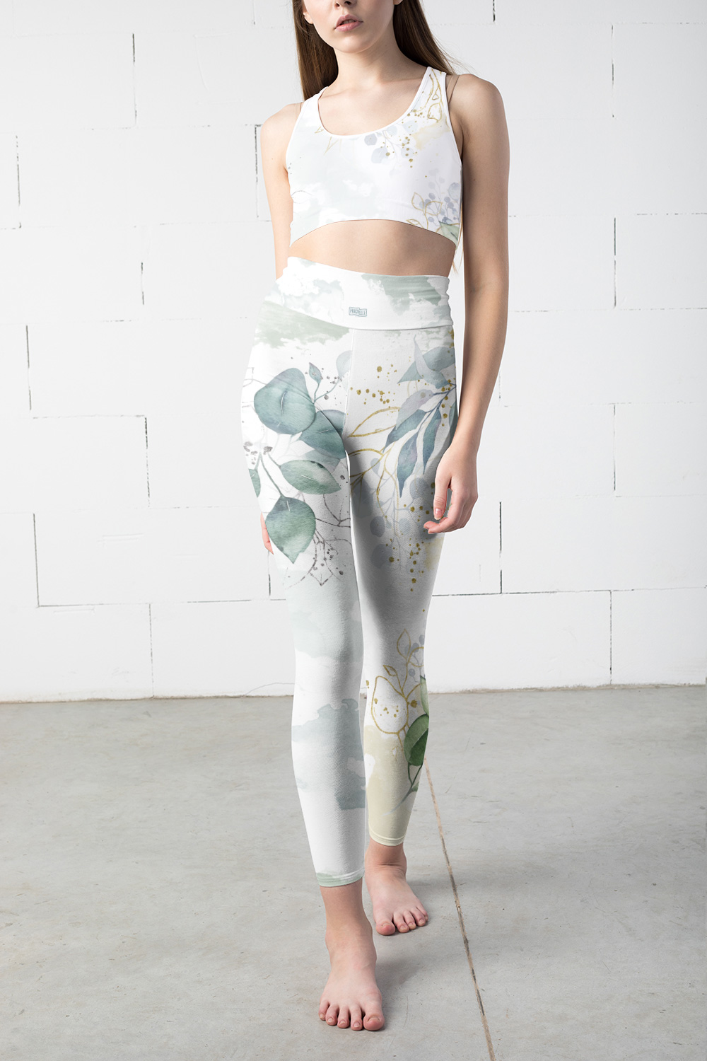 Olive | White Watercolor Leggings