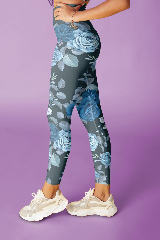 Rosi | Leggings imprimés Fleurs au Bleu de Prusse
