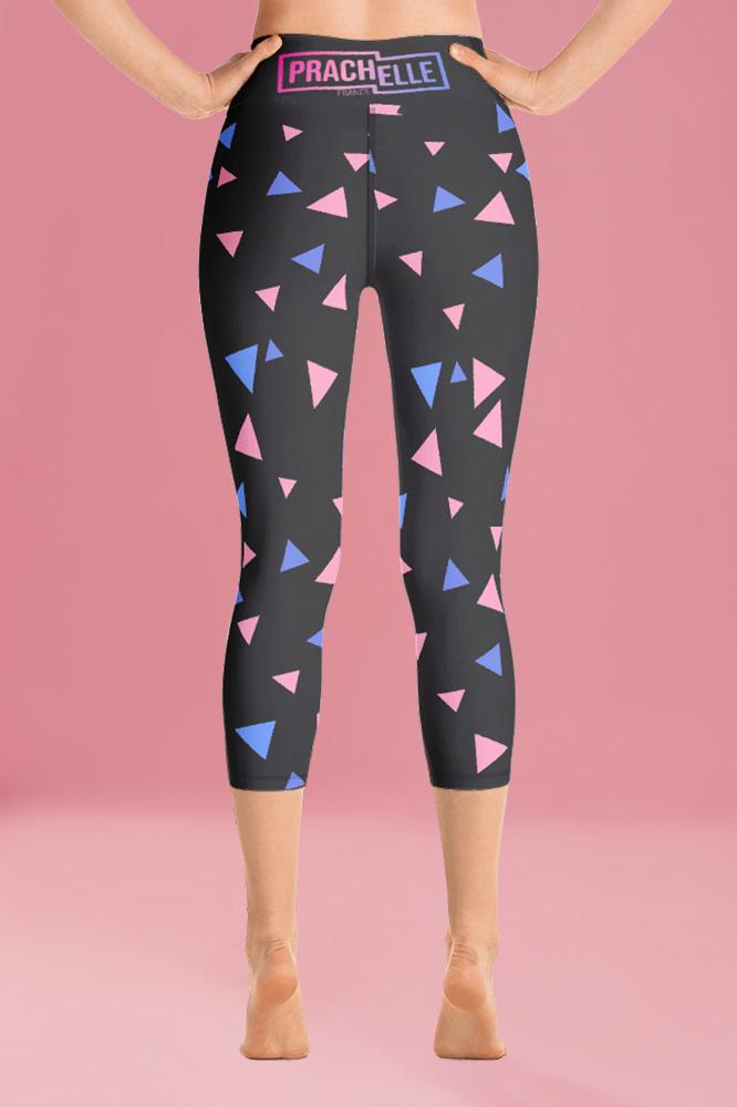 Confettis | Black Geometric Capri Leggings