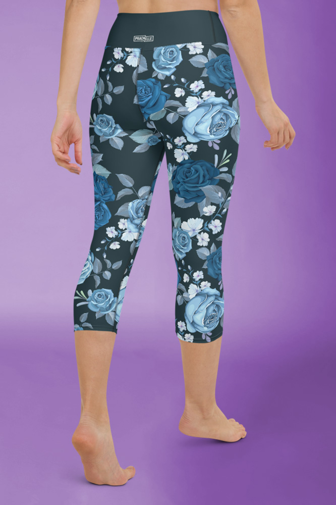 Rosi | Dark Flower Printed Capri Leggings