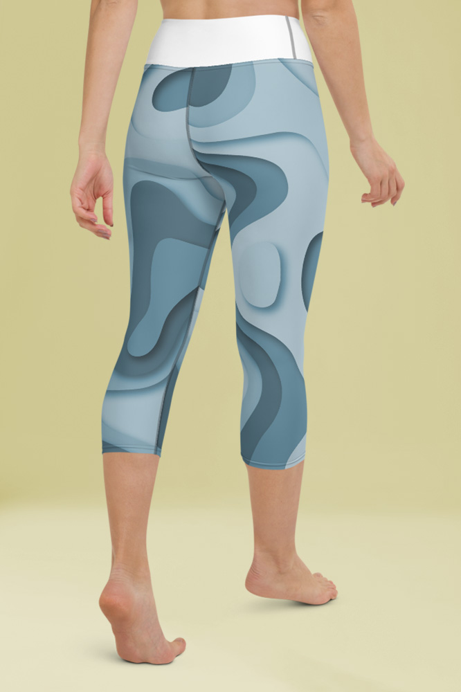 Geo | Abstract Blue Capri Leggings