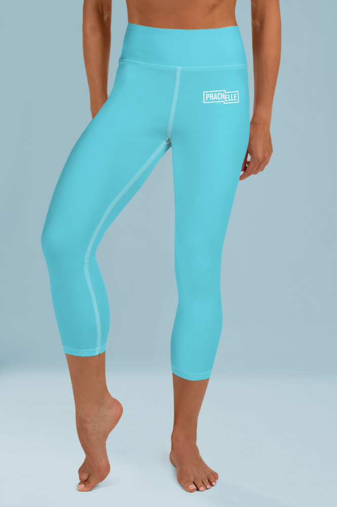 Cyan Blue Technical Capri Leggings
