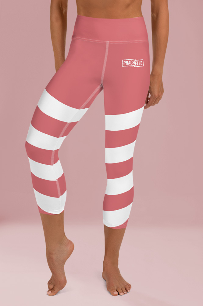 Incarnadine Pink Technical Capri Leggings with Stripes