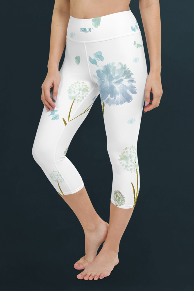 Pissenlits | White Watercolor Capri Leggings