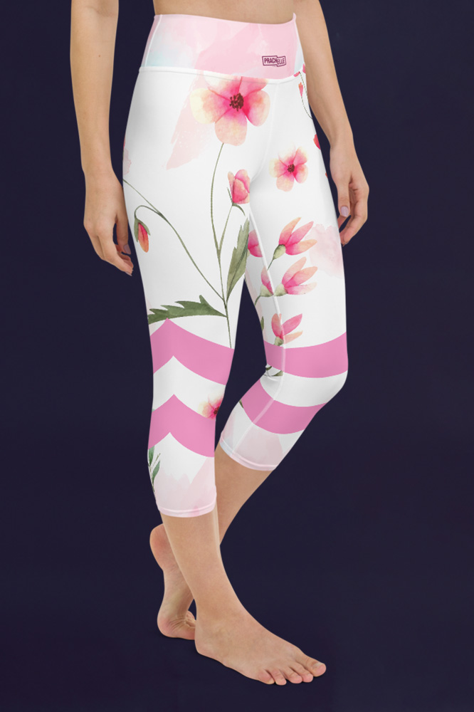 Coquelicots | Colorful Watercolor Capri Leggings