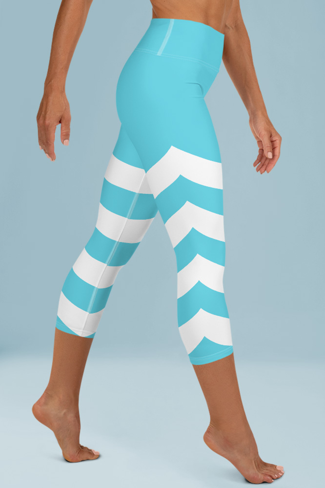 Cyan Blue Technical Capri Leggings with Stripes