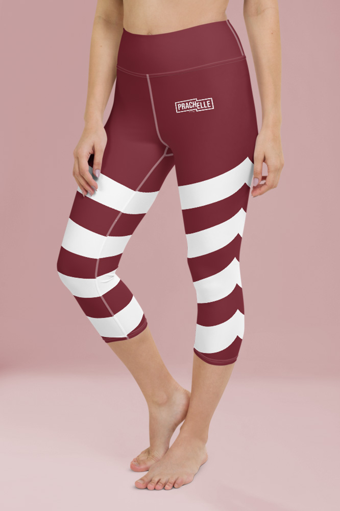 Rouge Bordeaux Technical Capri Leggings with Stripes