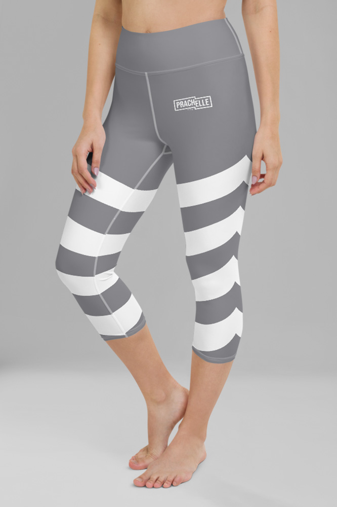 Grey Technical Capri Leggings with Stripes