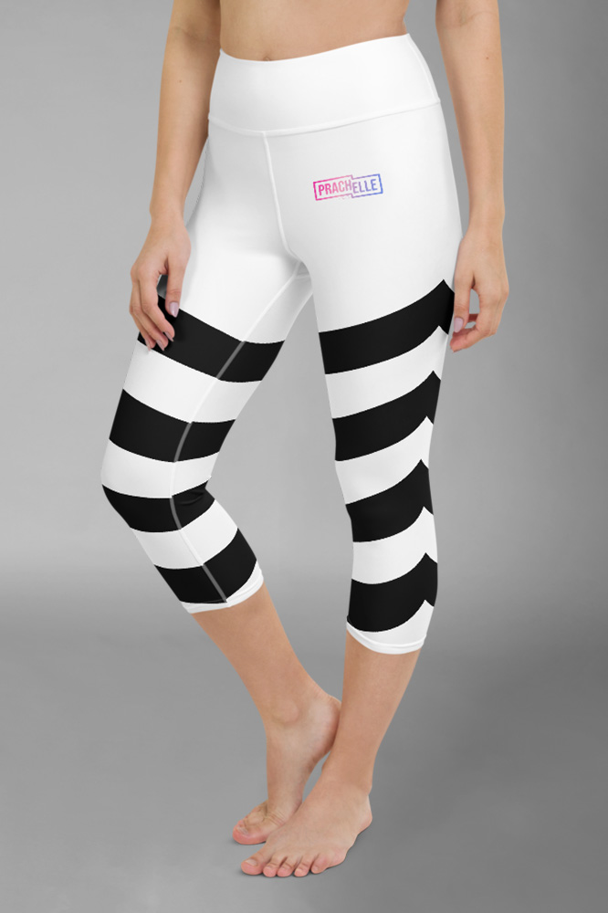 White Technical Capri Leggings with Black Stripes