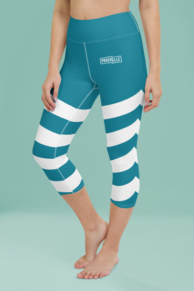 Caeruleum Blue Technical Capri Leggings with Stripes