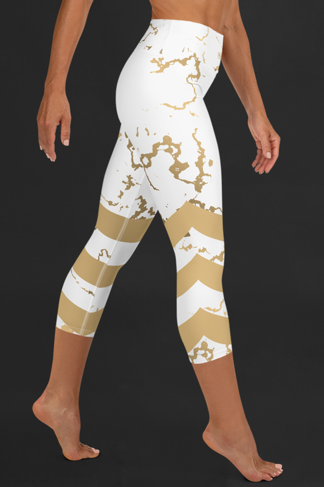 Versailles | Golden Marble Capri Leggings with Stripes