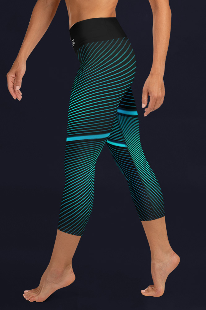 Blue Lines | Black Capri Leggings