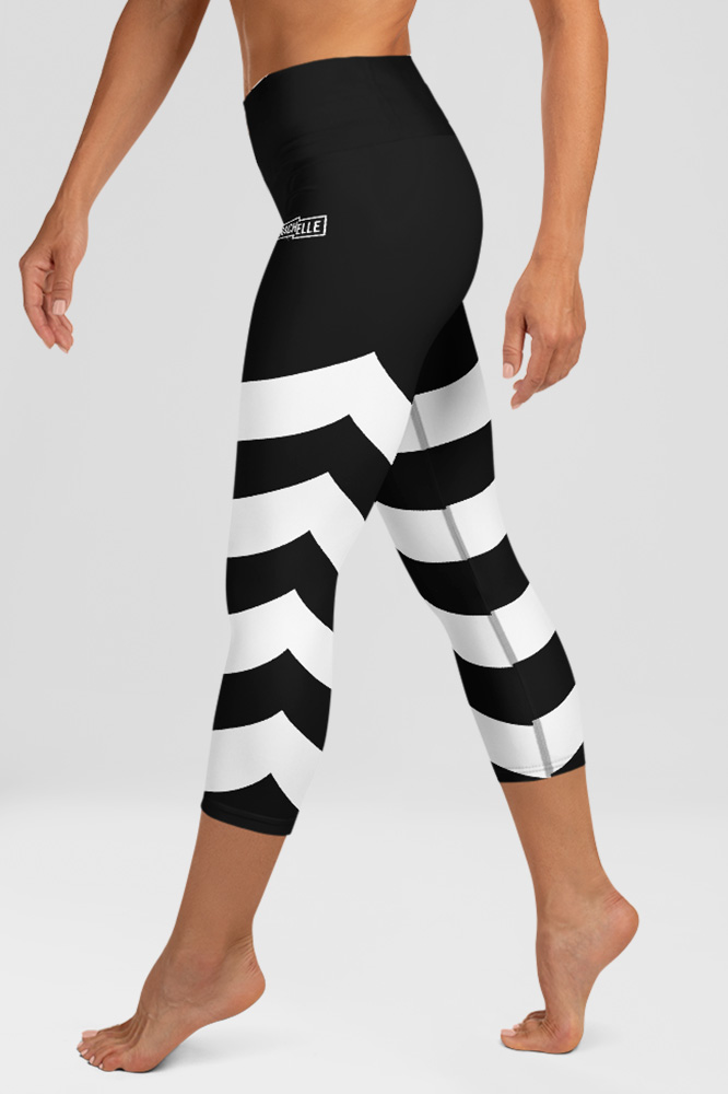 Black Technical Capri Leggings with White Stripes