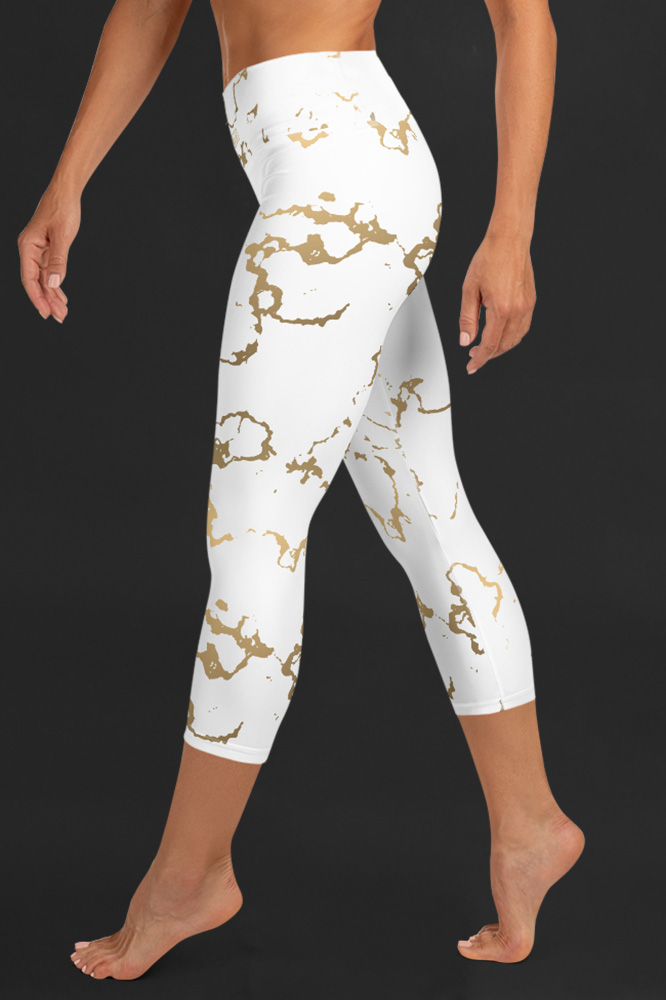 Versailles | Golden Marble Capri Leggings