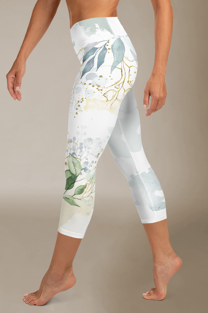 Olive | White Watercolour Capri Leggings