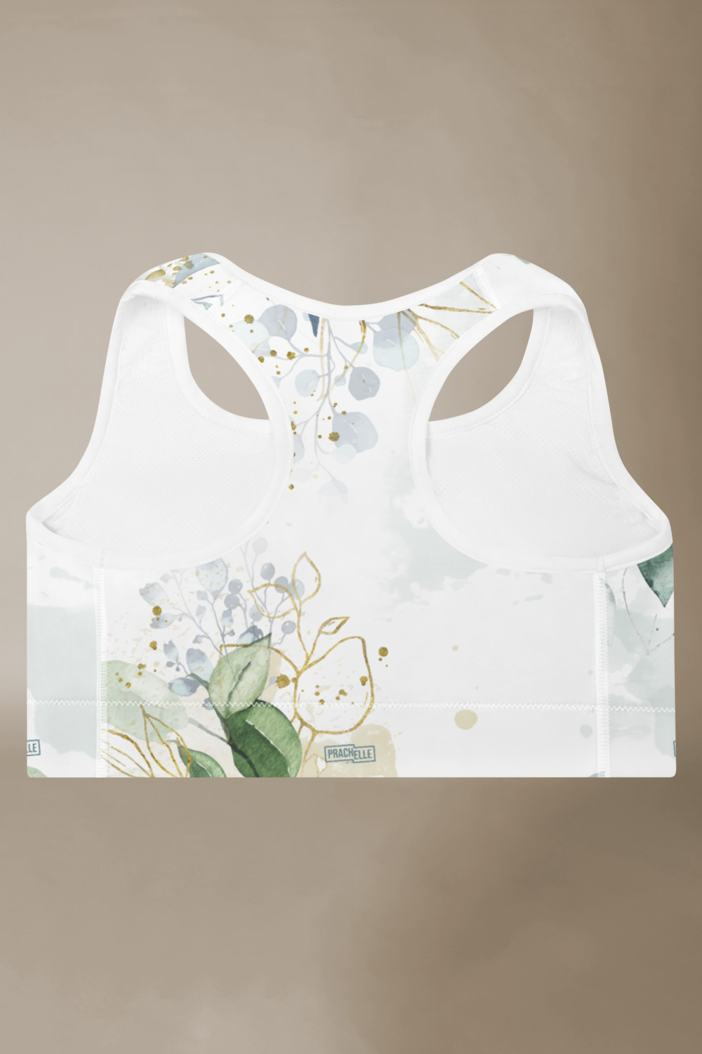 Olive | White Watercolor Sports Bra